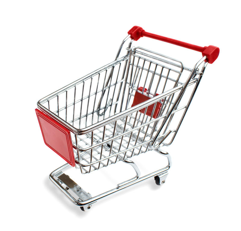 Shopping cart. From angled overhead perspective, isolated on a white background royalty free stock photo