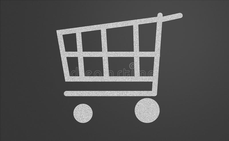 Shopping cart. Drawn on a chalkboard royalty free illustration