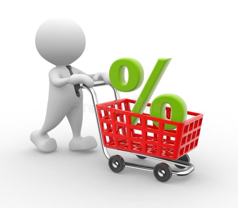 Shopping cart. 3d people - man, person with shopping cart and percent sign. Time to shopping royalty free illustration