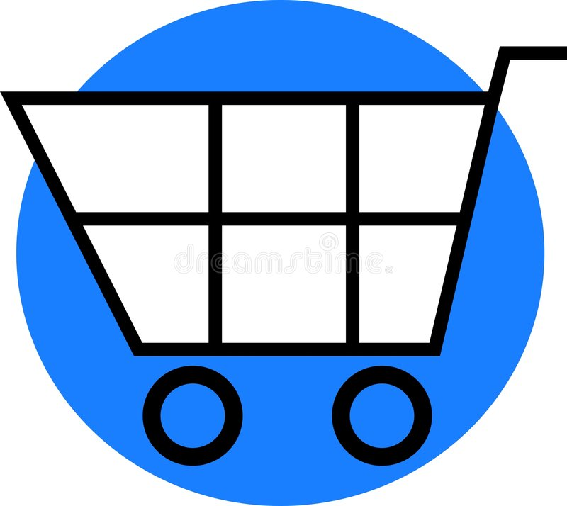 Shopping Cart. Simple shopping cart graphic on blue circle