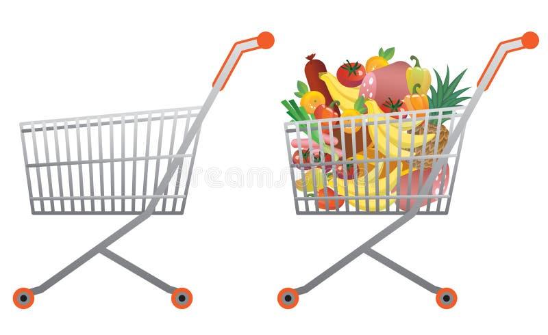 Shopping cart. Full and empty shopping cart stock illustration