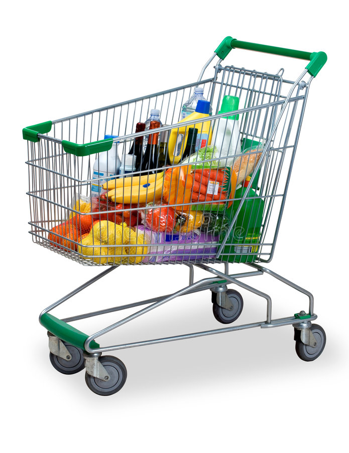 Shopping cart. A cart with the shopping of the supermarket