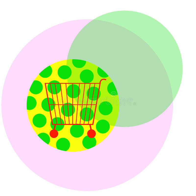 Shopping cart. On colored circles stock illustration