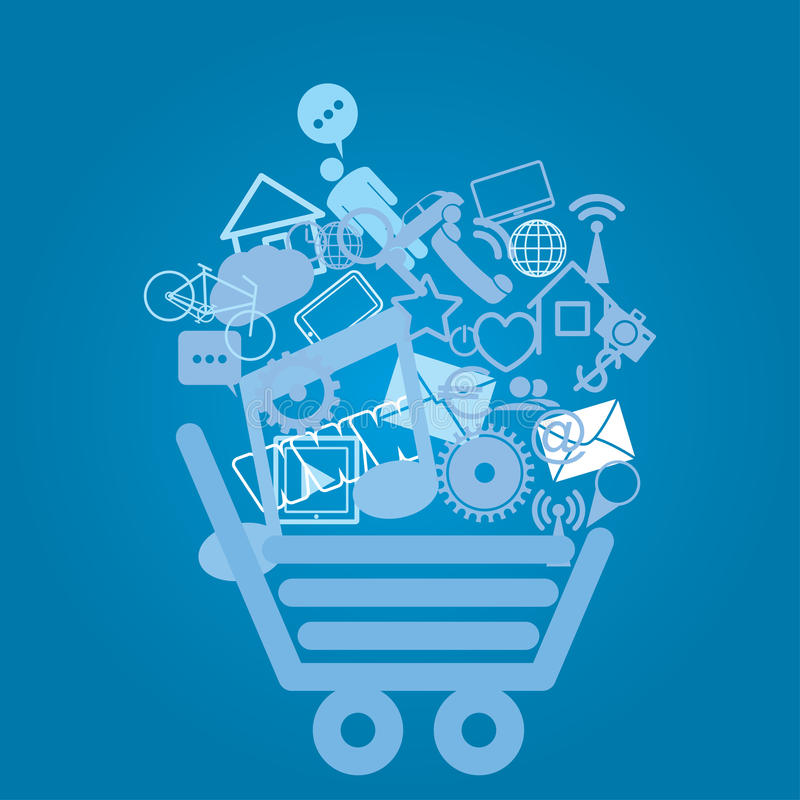 Download Basket with shopping stock vector. Image of commerce - 29785523