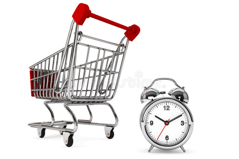 Shopping Cart With Alarm Clock Royalty Free Stock Photography
