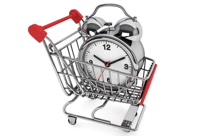 Download Shopping Cart With Alarm Clock Stock Illustration - Image: 26230639
