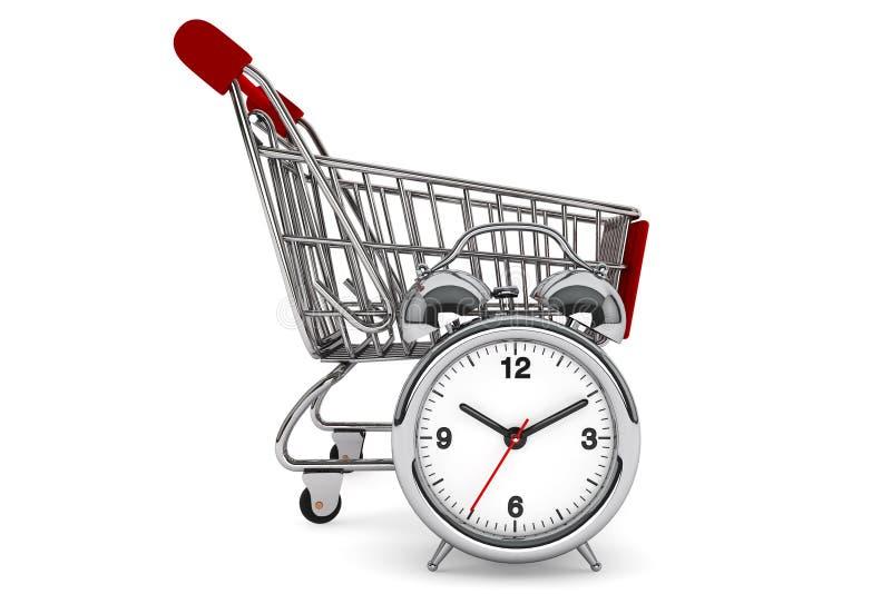 Download Shopping Cart With Alarm Clock Stock Illustration - Illustration: 26230640