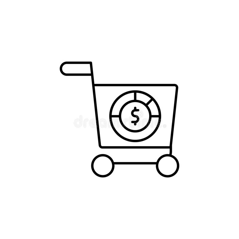 Shopping cart, analytic icon. Simple thin line, outline vector of Saving money icons for UI and UX, website or mobile application. On white background royalty free illustration