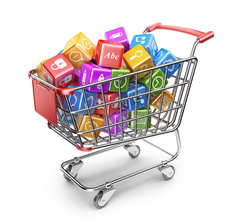 Shopping cart with app icons. 3D Isolated stock illustration