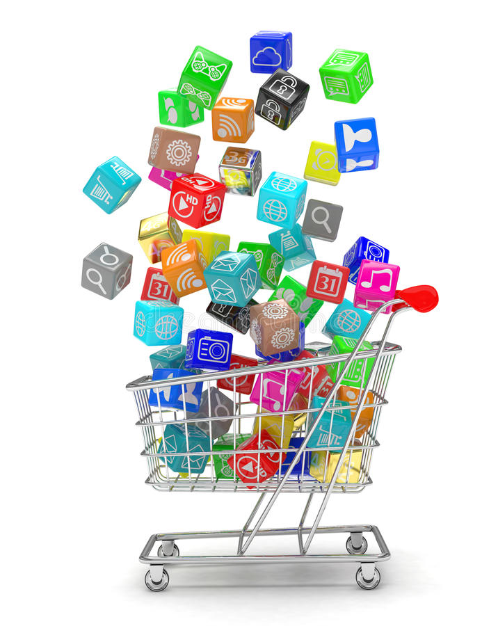 Shopping cart with application software icons. Isolated on a white background royalty free illustration