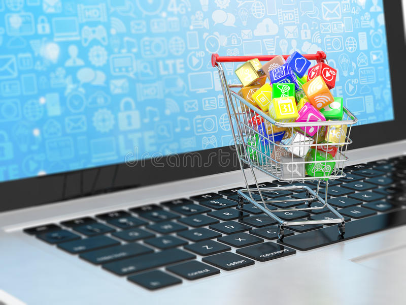Shopping cart with application software icons. On laptop stock illustration
