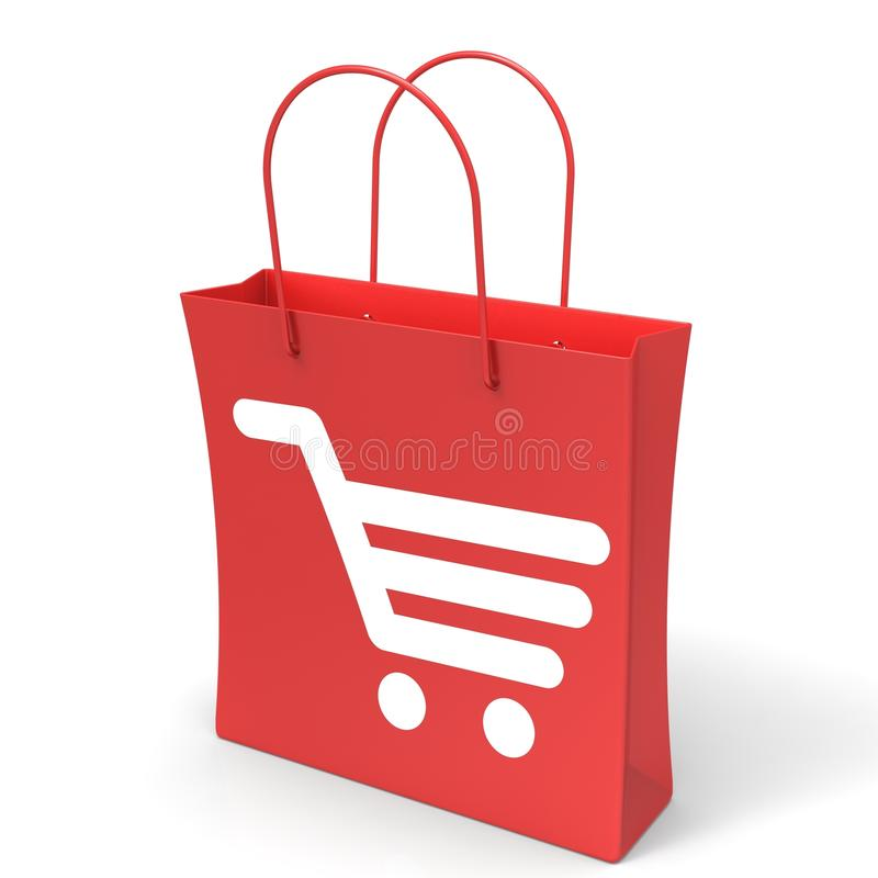 Shopping Cart Bag Showing Basket Checkout. Shopping Cart Bag Showing Retail Basket Checkout royalty free illustration