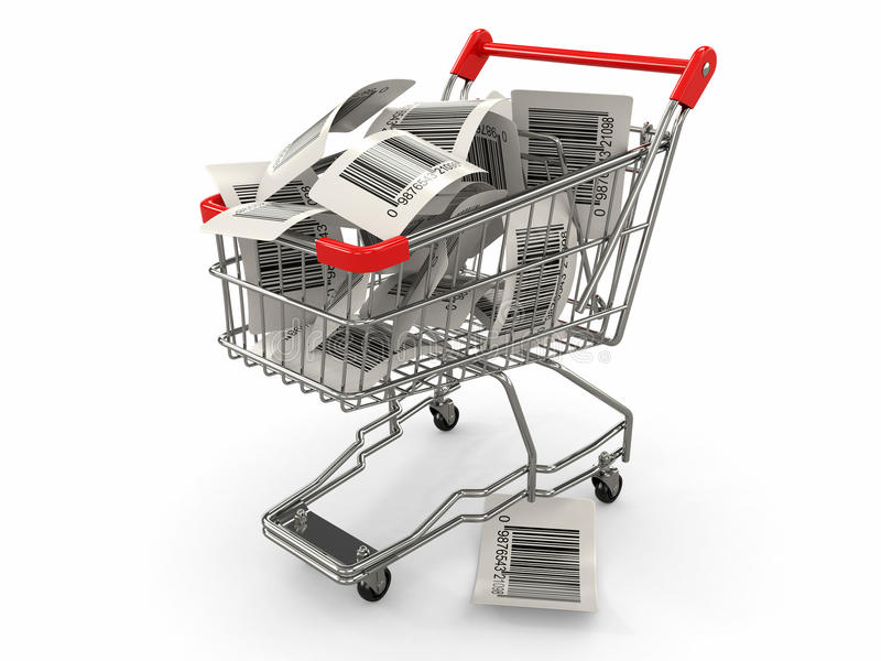 Download Shopping Cart With Barcode Labels. 3d Stock Illustration - Image: 24987050
