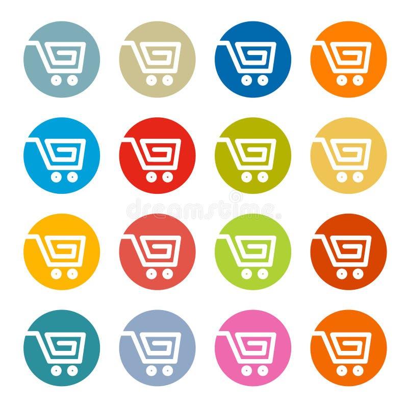 Shopping Cart, Basket, Web Symbols. Icons Set in Circles royalty free illustration