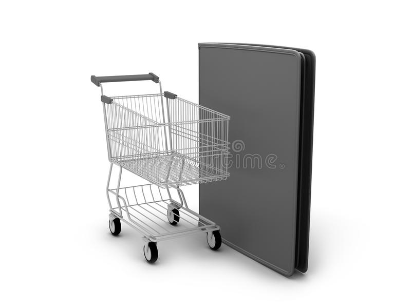 Download Shopping Cart And Black Leather Wallet Stock Illustration - Illustration of notecase, single: 39510917
