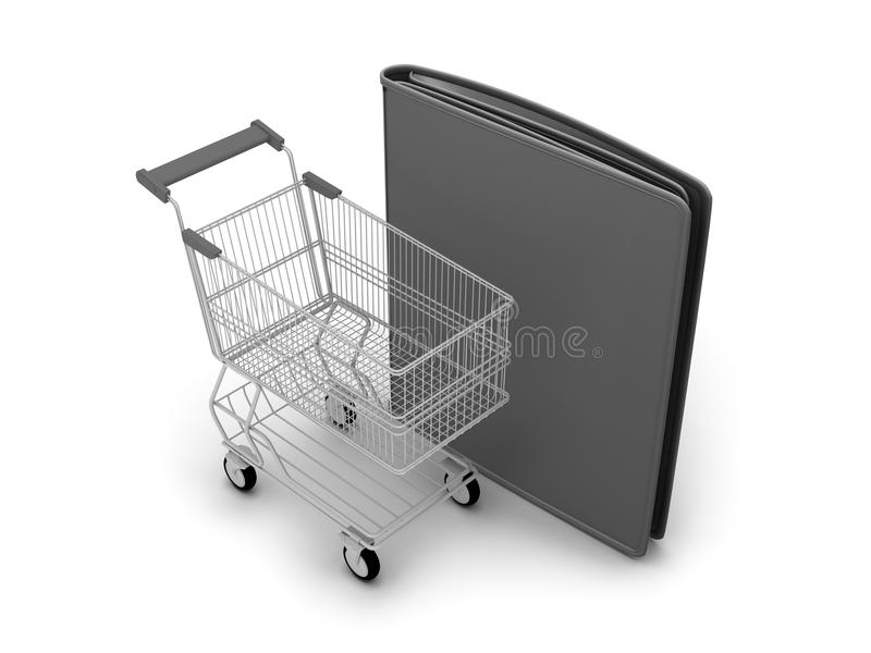 Download Shopping Cart And Black Leather Wallet Stock Illustration - Illustration of isolated, concept: 39515355