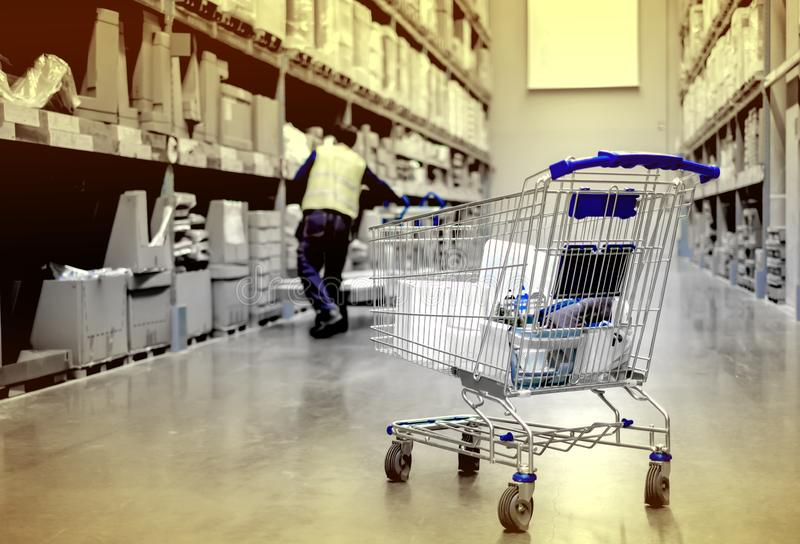 shopping cart blue color in superstore at the shopping center market with full product royalty free stock photography