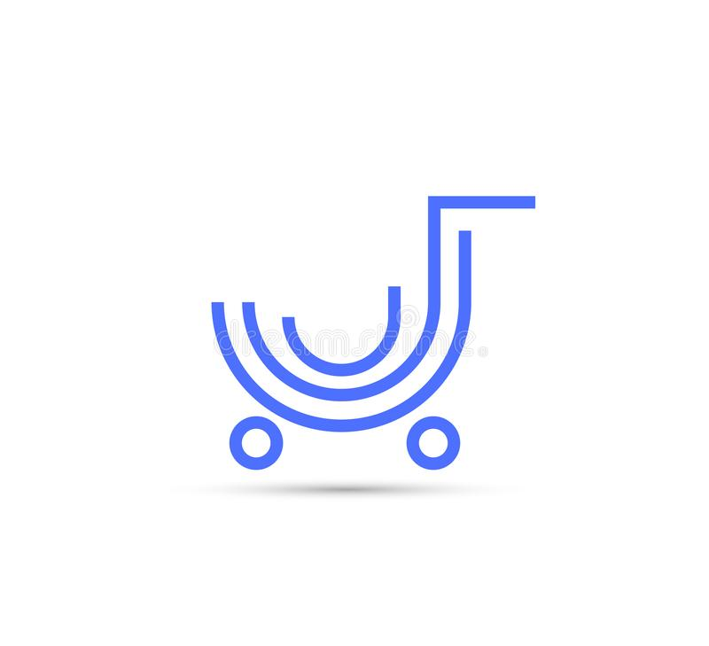 Shopping cart blue line icon, outline vector sign royalty free illustration