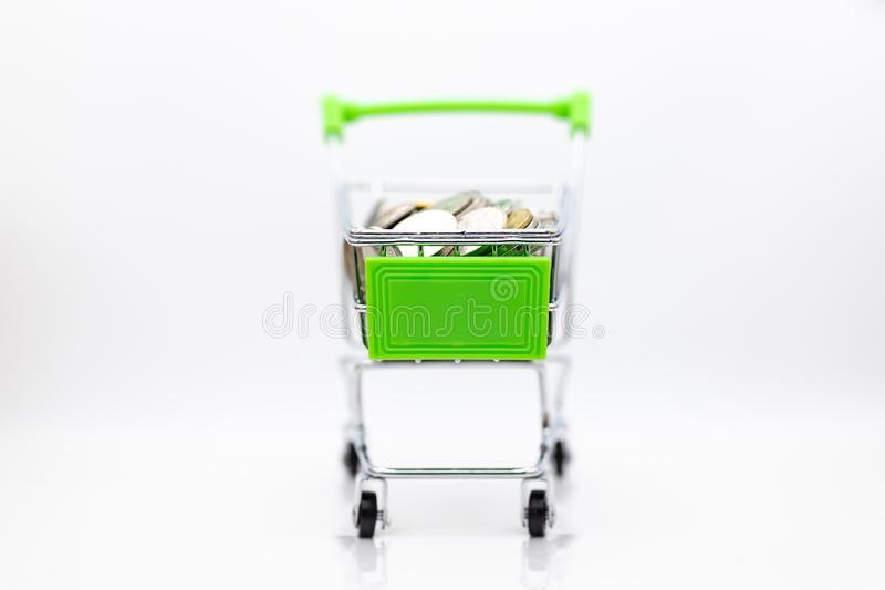 Shopping cart with box inside for retail business. Image use for online and offline shopping, marketing place world wide.  stock image