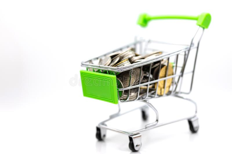 Shopping cart with box inside for retail business. Image use for online and offline shopping, marketing place world wide.  stock photos