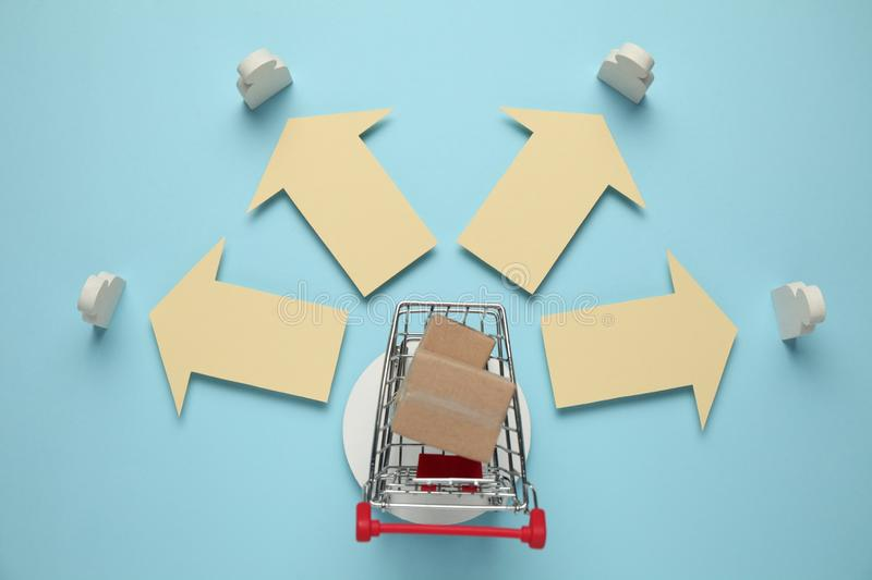 Shopping cart with boxes. Online store, delivery of goods to customer.  stock photo