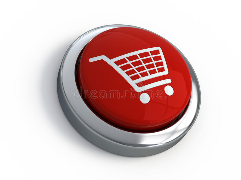 Shopping cart button. On white background royalty free illustration