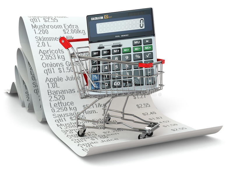 Shopping cart with calculator on reciept vector illustration