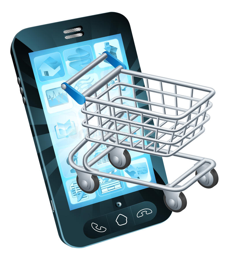 Shopping cart cell phone. Concept of a mobile phone with a shopping trolley coming out stock illustration