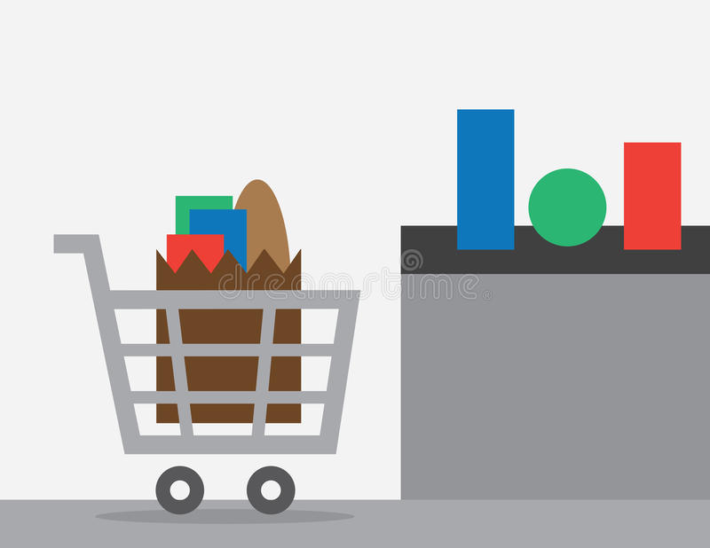 Shopping Cart Checkout. Full shopping cart at store checkout vector illustration