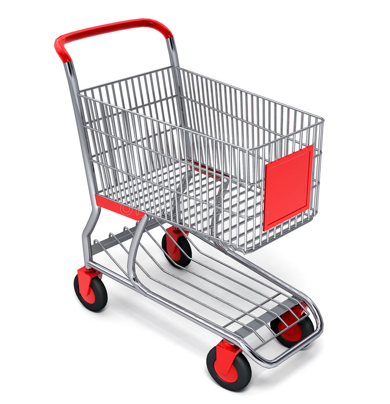 Shopping cart with clipping path. Shopping cart over white background with clipping path