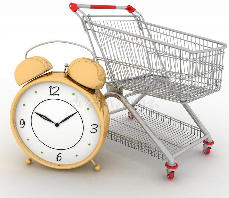Download Shopping cart with clock stock illustration. Image of hurry - 25436494