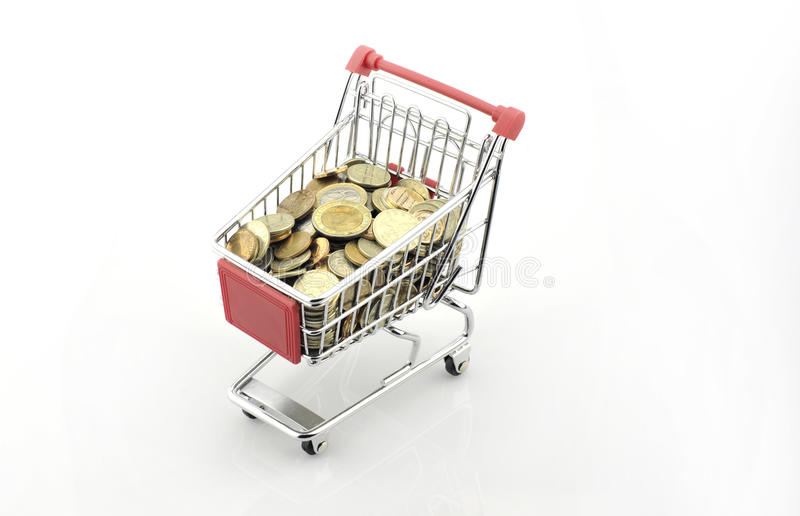 Shopping cart with coins september 18, 2016. Shopping cart with coins september 18 stock photos