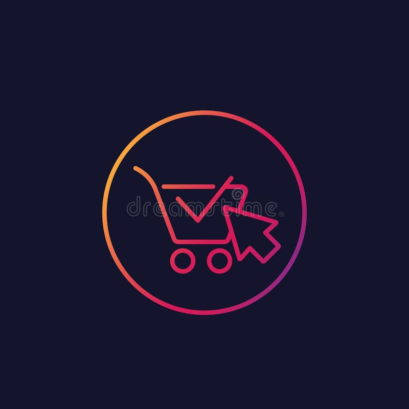 Shopping cart, completed order, e-commerce icon. Shopping cart, completed order, e-commerce, vector linear icon stock illustration