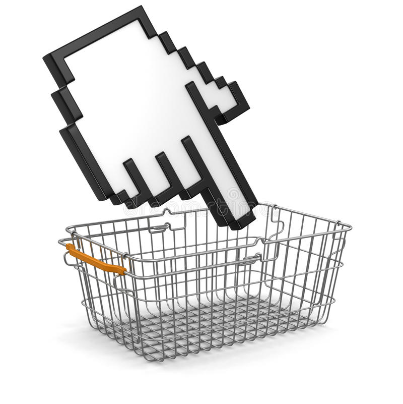 Shopping Cart  And Cursor (clipping Path Included) Royalty Free Stock Photography