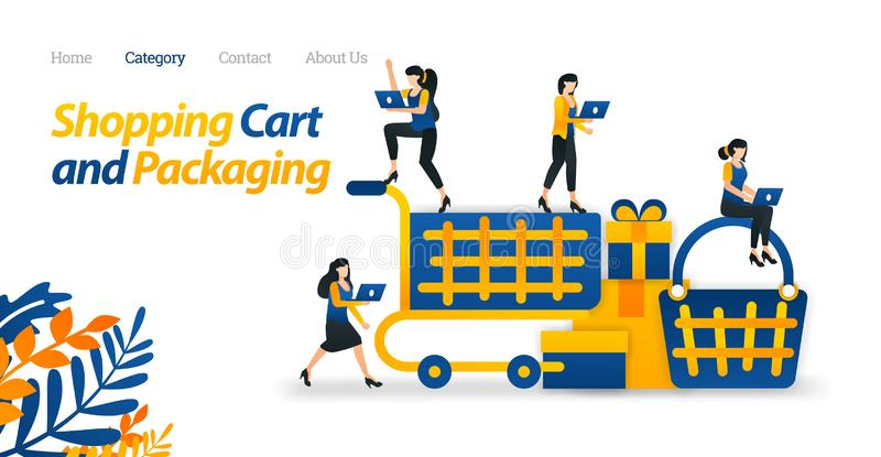 Shopping Cart Design for Web and E-commerce Purposes. Use Trolleys and Basket to Shop. Vector Illustration. Flat Icon Style Ads royalty free illustration