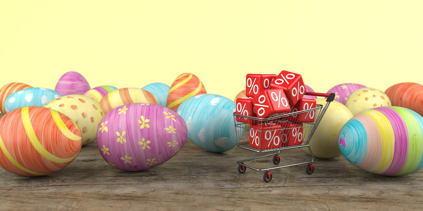 Shopping Cart Discount Cubes Easter Eggs vector illustration
