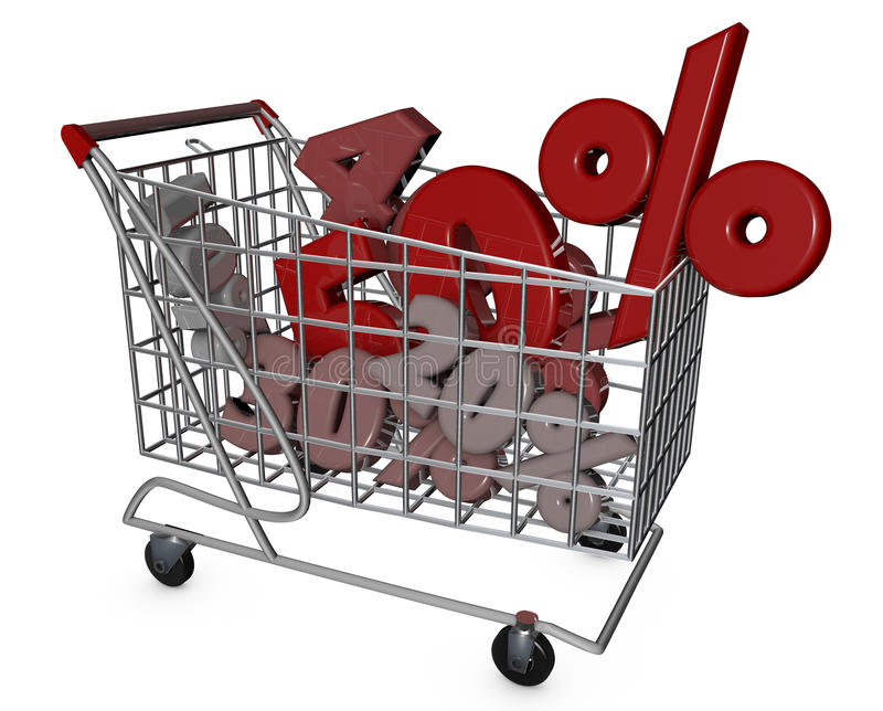 Shopping Cart. Discounts, sales, supermarket promotions stock illustration