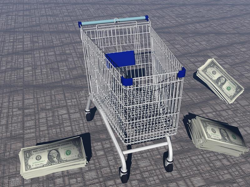 Download Shopping cart and dollars stock illustration. Image of metal - 34382116