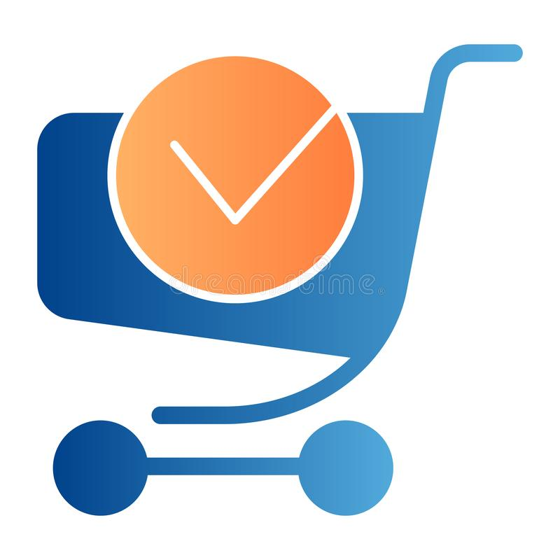 Shopping cart with done label flat icon. Online shopping color icons in trendy flat style. Shopping trolley with tick. Gradient style design, designed for web vector illustration