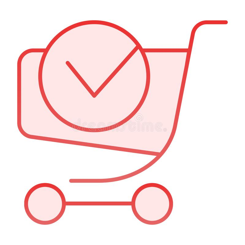 Shopping cart with done label flat icon. Online shopping pink icons in trendy flat style. Shopping trolley with tick. Gradient style design, designed for web royalty free illustration