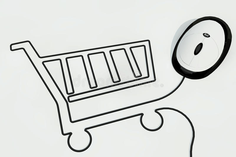 Shopping cart drawn with mouse wire stock illustration