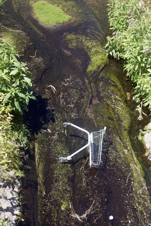 Shopping cart dumped in stream. Bell Walk, Solihull,Birmingham, U.K. 8 July 2018 12.30 P.M. royalty free stock images