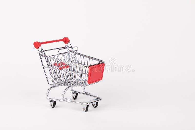 Shopping cart empty, isolated on white background stock images
