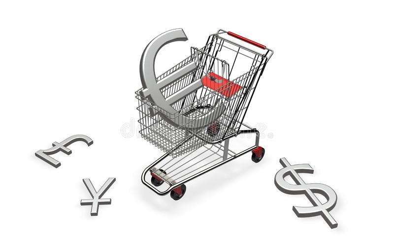 Download Shopping cart with euro stock illustration. Illustration of design - 15097217