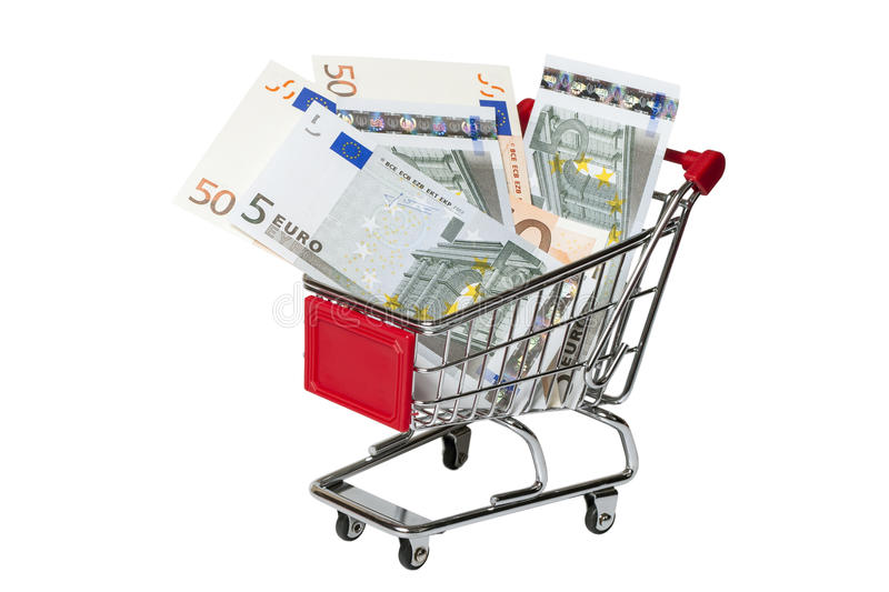 Shopping cart with euro isolated on white stock images