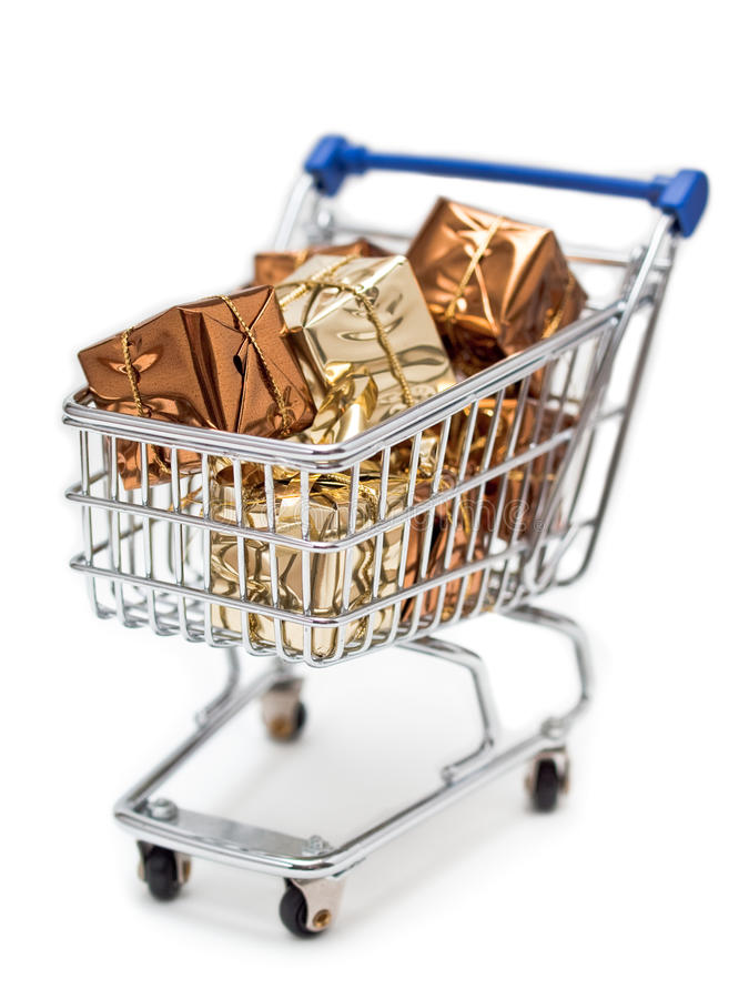 Shopping cart filled with gifts stock images