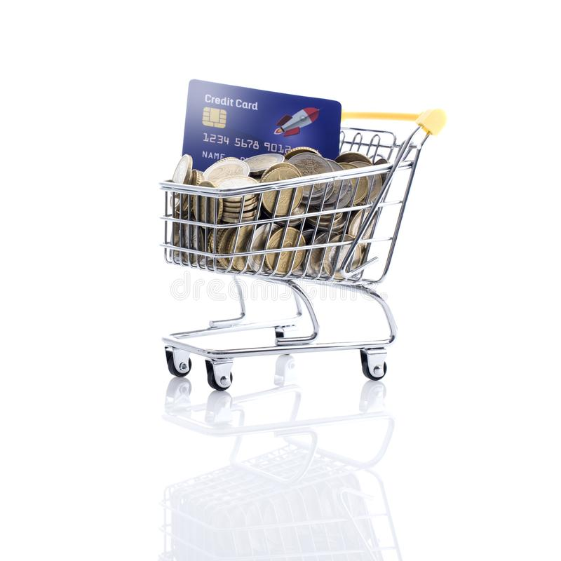 Shopping cart filled with money and credit card. Shopping cart full of money and credit card: retail, payment and banking concept royalty free stock image
