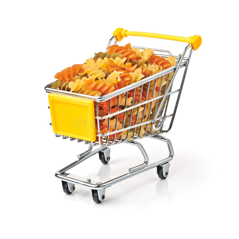 Shopping Cart Filled With Pasta Stock Photos