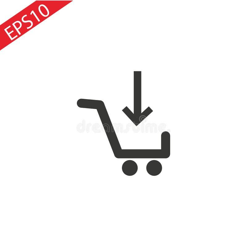 Shopping cart Flat Icon white background. Vector EPS10 vector illustration