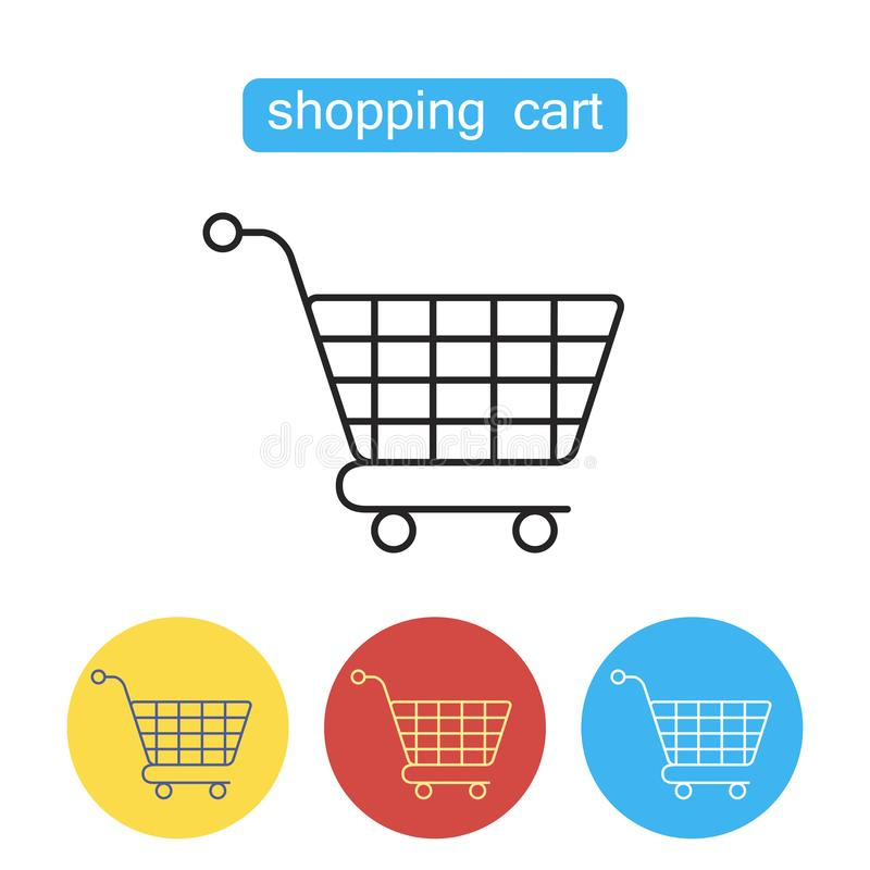 Shopping cart flat line icon. royalty free illustration